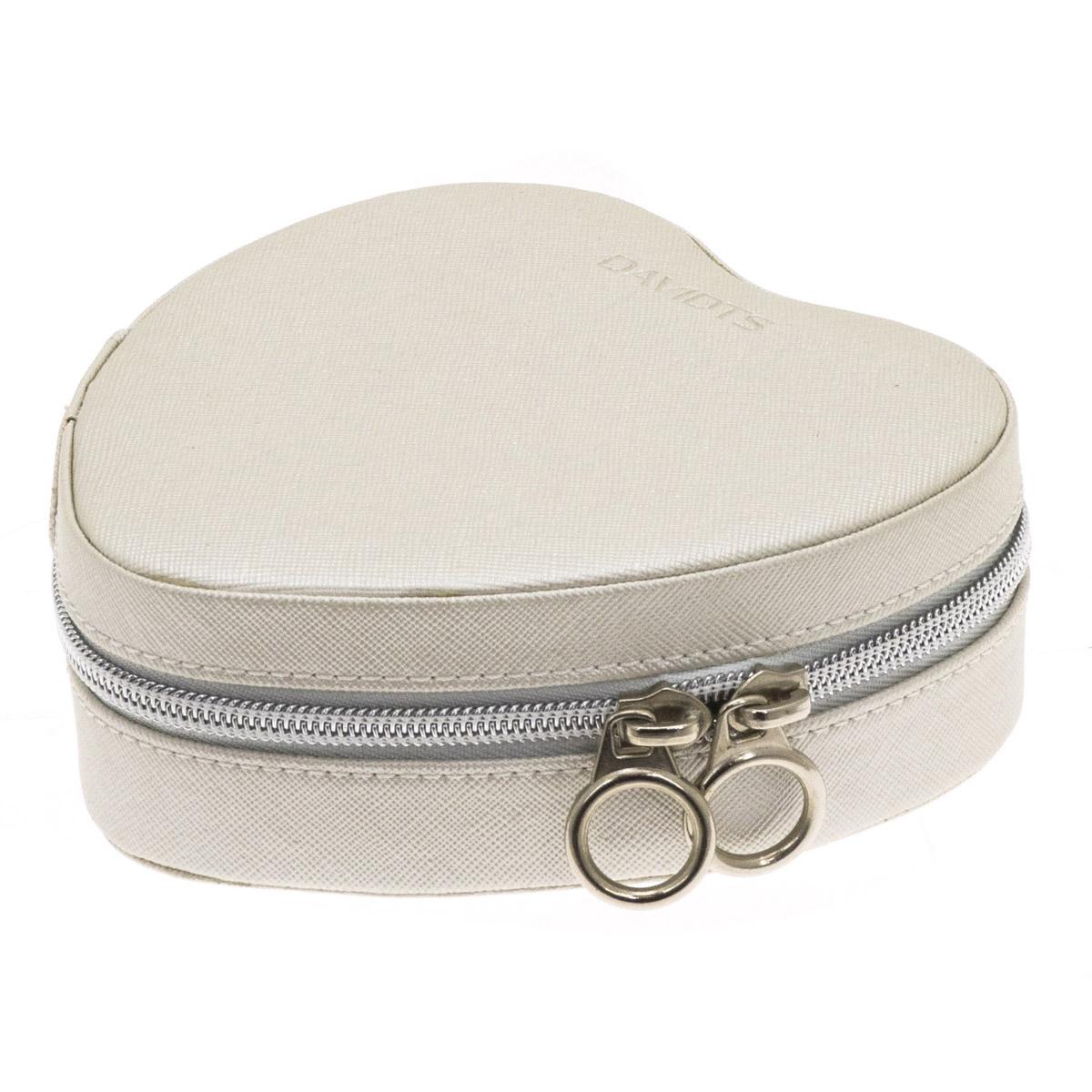 Coffret à bijoux zippé \'Zip\'n go\' beige satiné (coeur) - 14x14x5 cm - [Q9924]