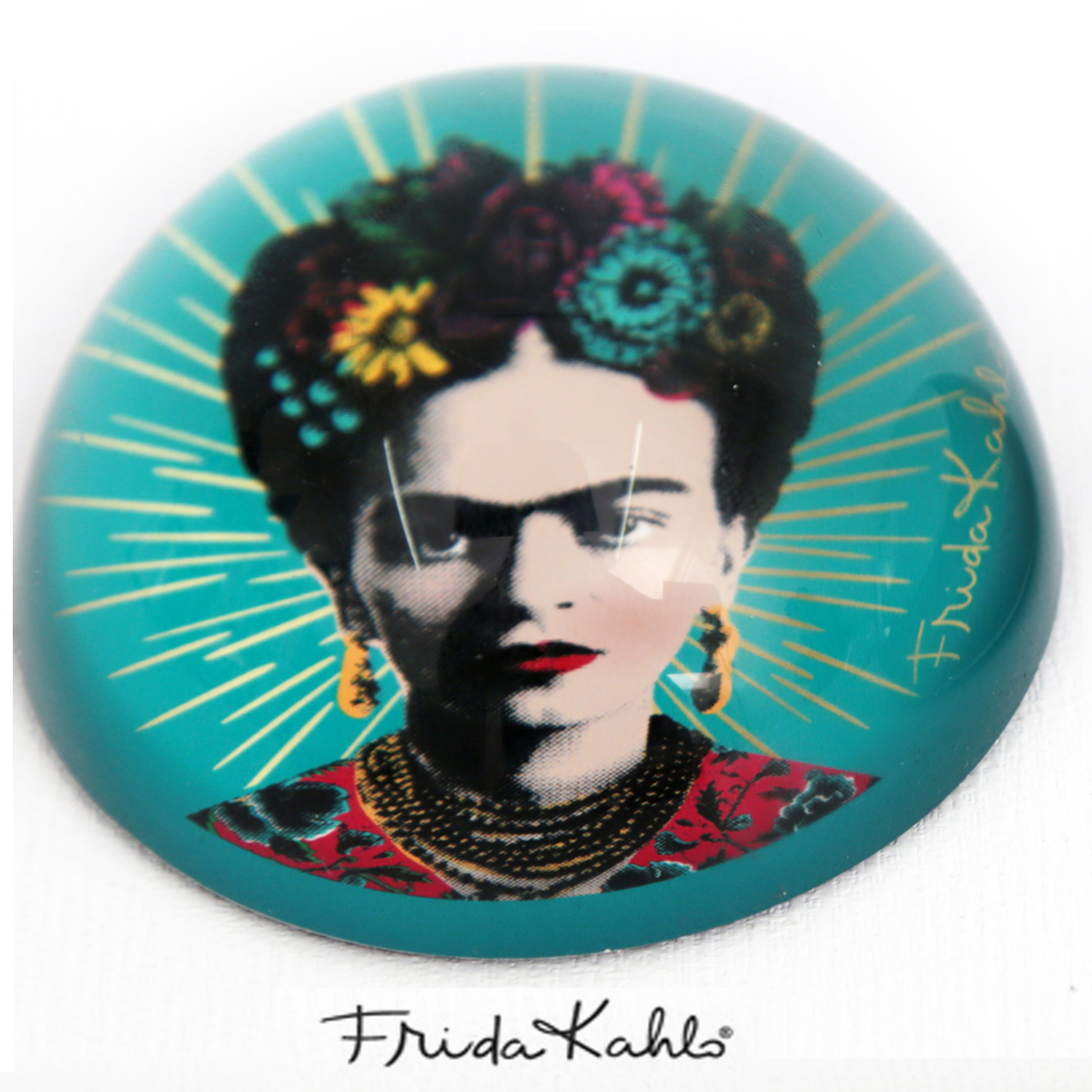 Presse papier verre \'Frida Kahlo\' turquoise - 78x40 mm - [Q9962]
