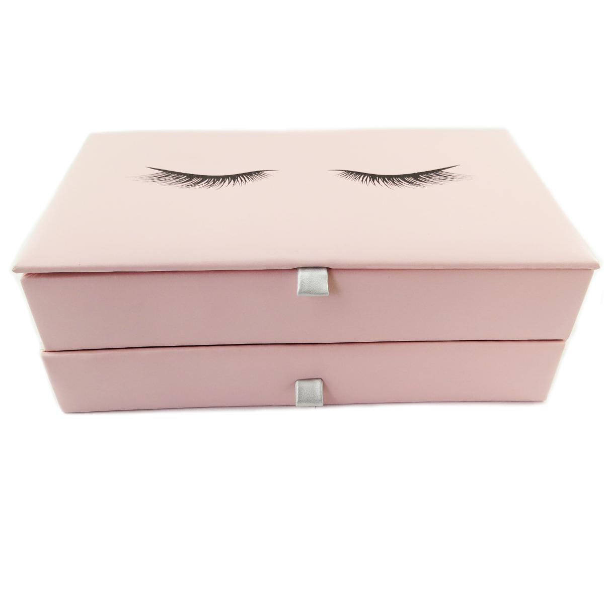 Coffret à Bijoux \'Diva - Yeux Endormis\' rose - 28x17x10 cm - [Q9984]