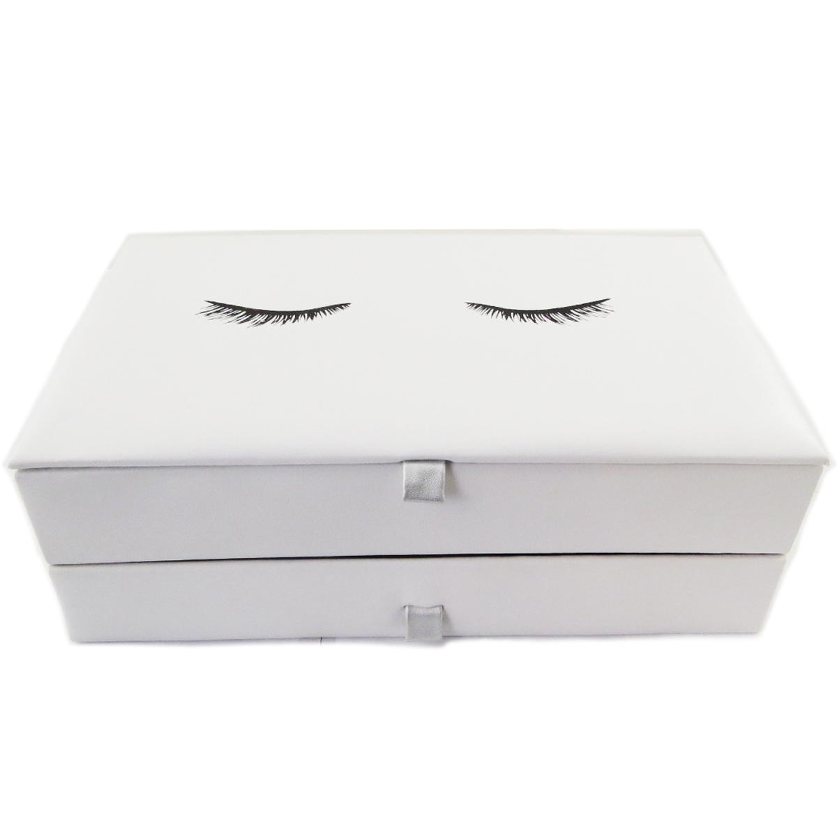 Coffret à Bijoux \'Diva - Yeux Endormis\' blanc - 28x17x10 cm - [Q9985]