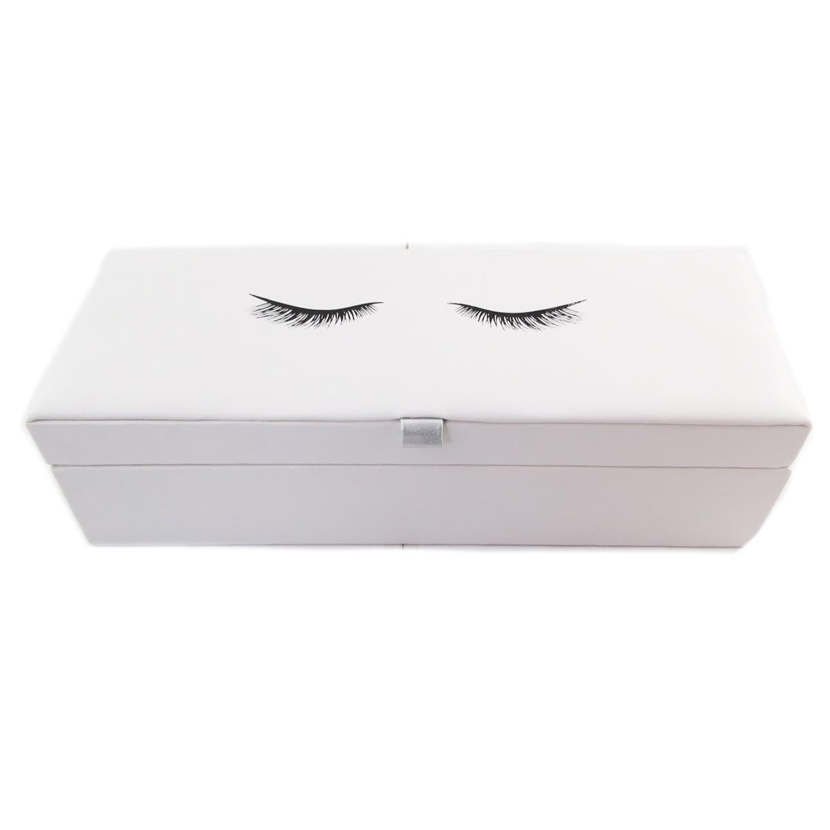 Coffret à Bijoux \'Diva - Yeux Endormis\' blanc - 28x10x75 cm - [Q9987]
