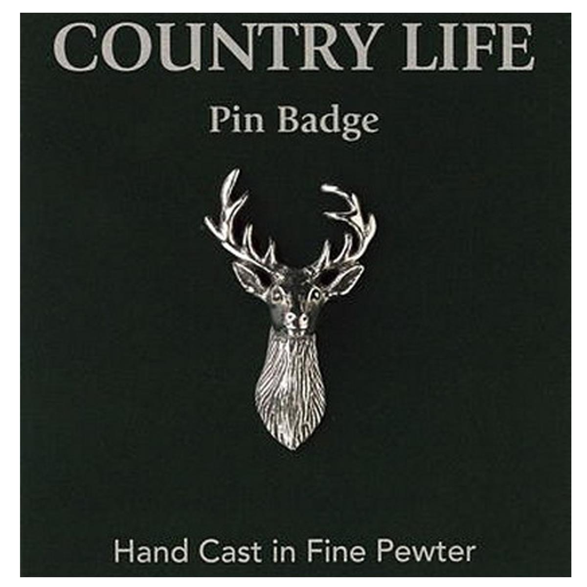 Broche pin\'s épinglette étain \'Country Life\' argenté vieilli (cerf) - 30x20 mm - [R2820]