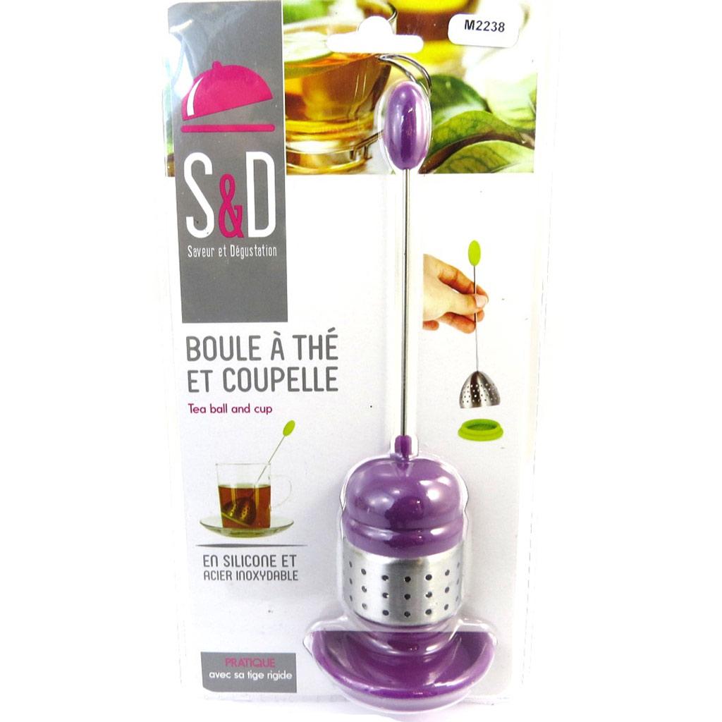 Boule à thé \'Coloriage\' violet (acier silicone + coupelle) - 165x55 cm - [M2238]
