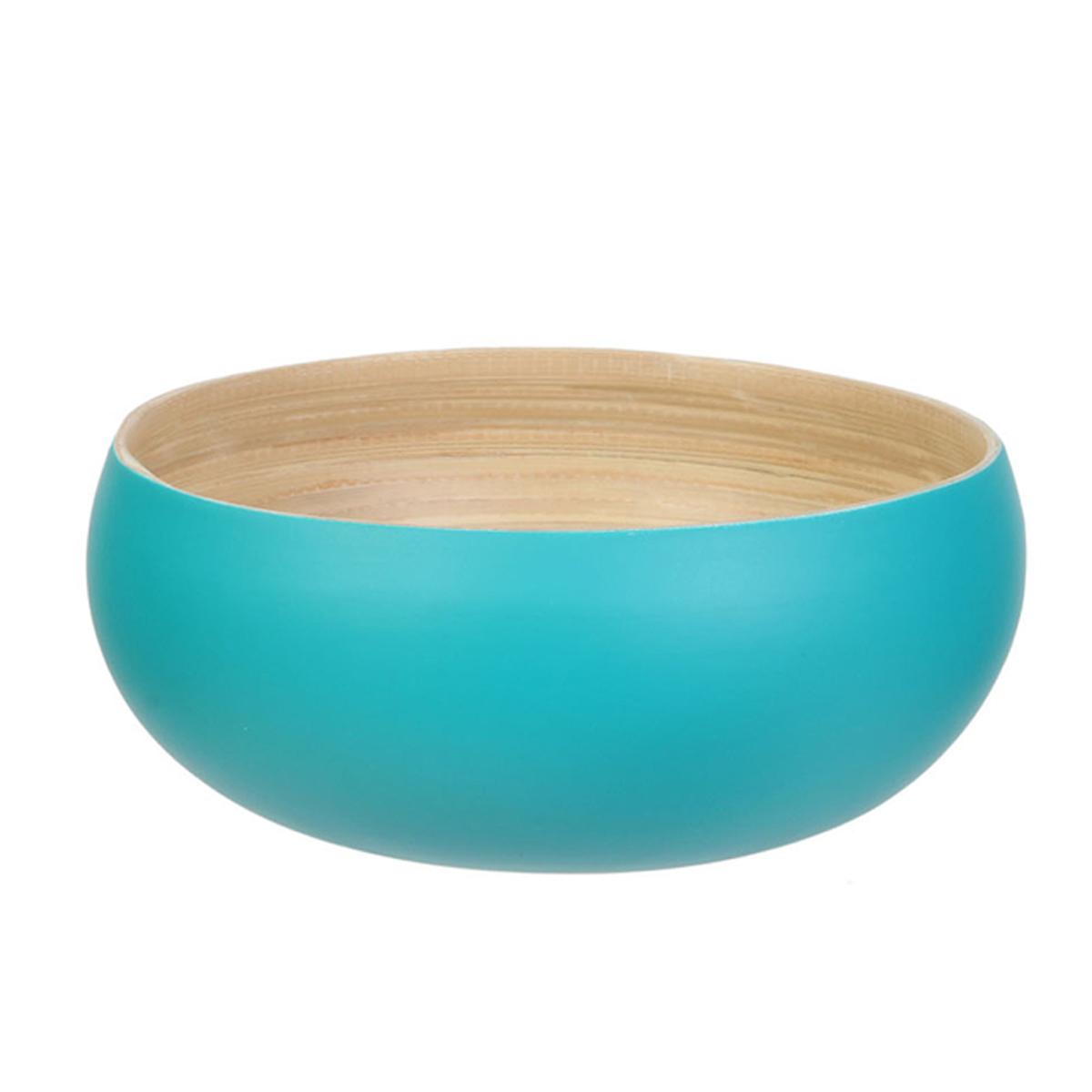 Saladier bambou \'Boho\' turquoise beige - 19x85 cm (15L) - [R2863]