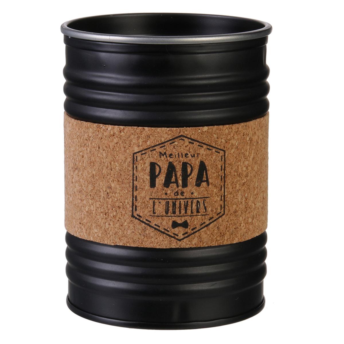 Bougie parfumée conserve métal \'Papa\' noir (Meilleur papa de l\'univers) - 10x7 cm (musc blanc) - [R2868]