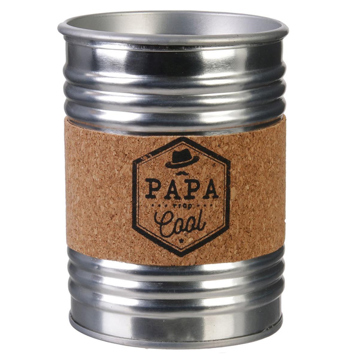 Bougie parfumée conserve métal \'Papa\' argenté (Papa trop cool) - 10x7 cm (musc blanc) - [R2869]