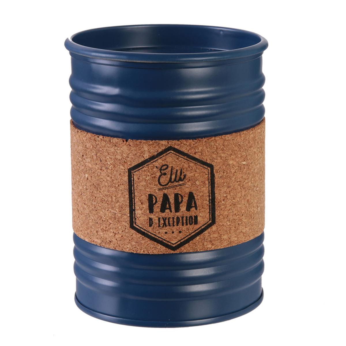 Bougie parfumée conserve métal \'Papa\' bleu (Elu papa d\'exception) - 10x7 cm (musc blanc) - [R2870]