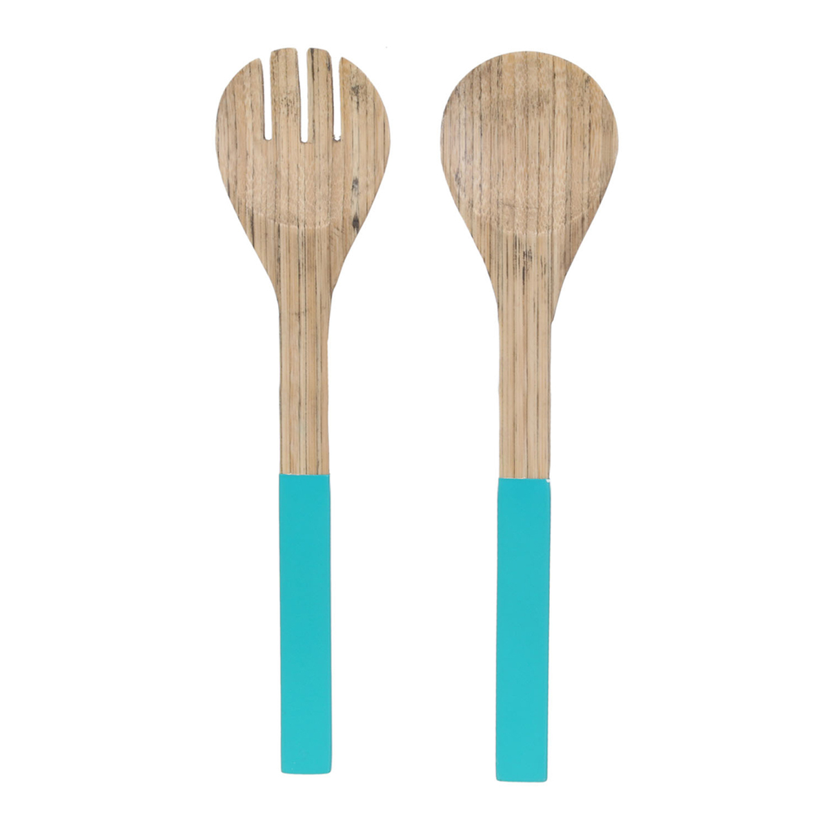 Couverts à salade bambou \'Boho\' turquoise beige - 30x7 cm - [R2877]