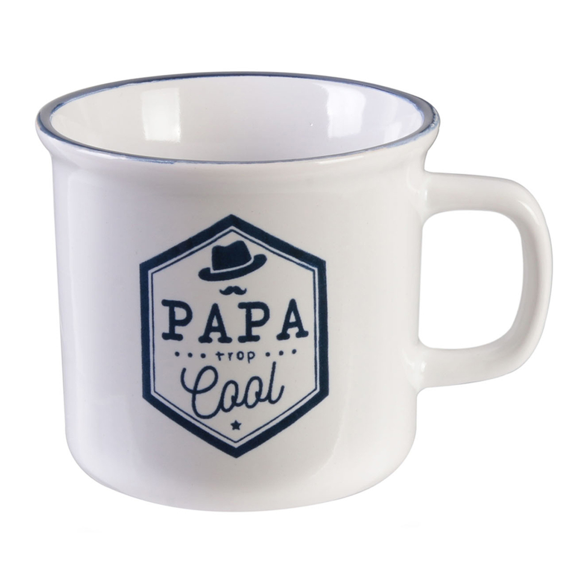 Mug tendresse céramique \'Papa\' bleu blanc (Papa trop cool) - 8x9 cm (30 cl) - [R2882]