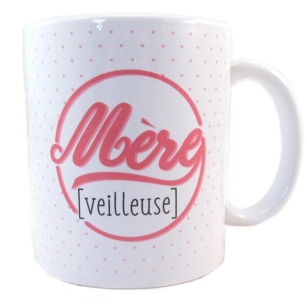 Mug tendresse \'Maman - Mère [veilleuse]\' blanc rose - 95x80 mm - [P9406]