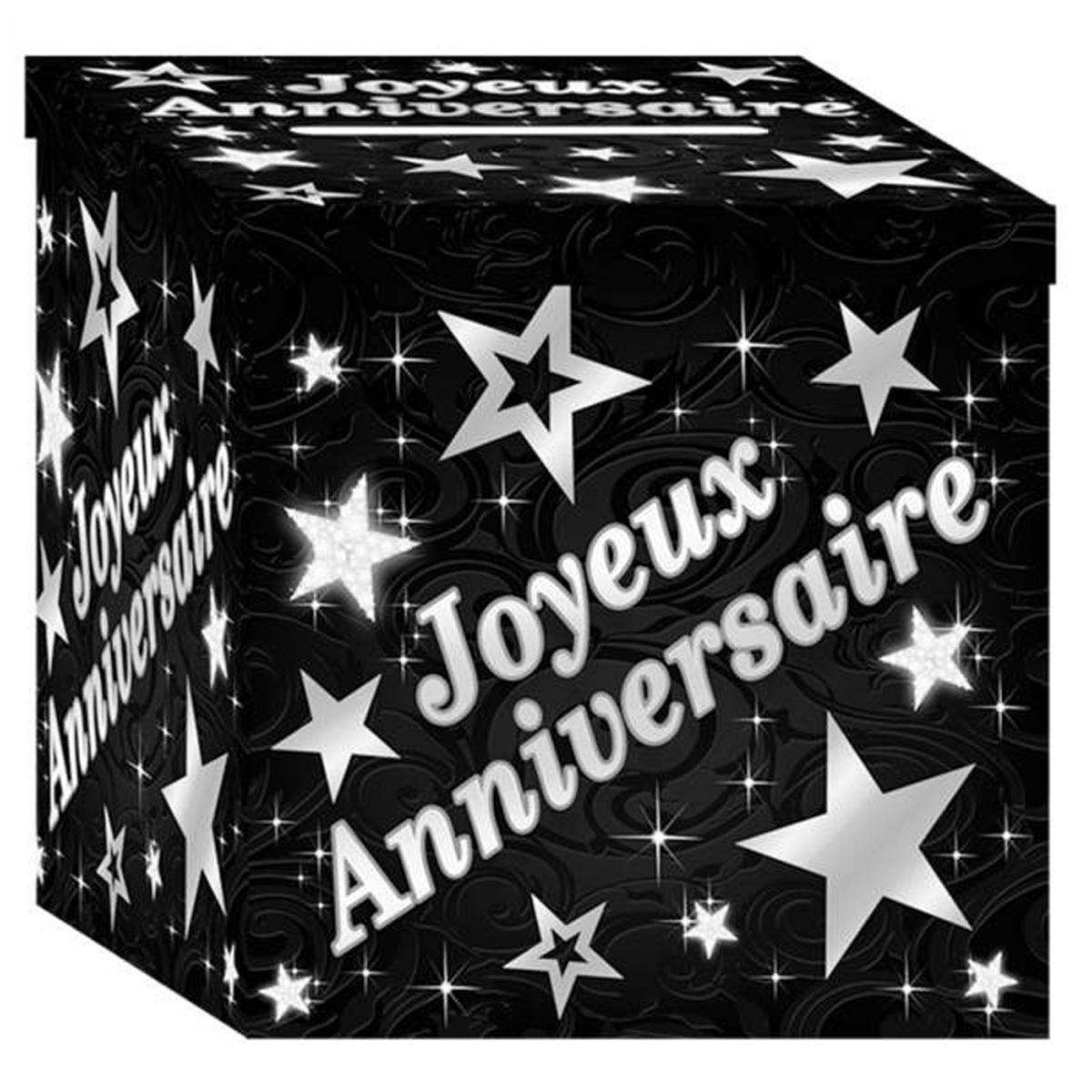 Urne \'Joyeux Anniversaire\' noir argenté - 20x20 cm - [P8533]