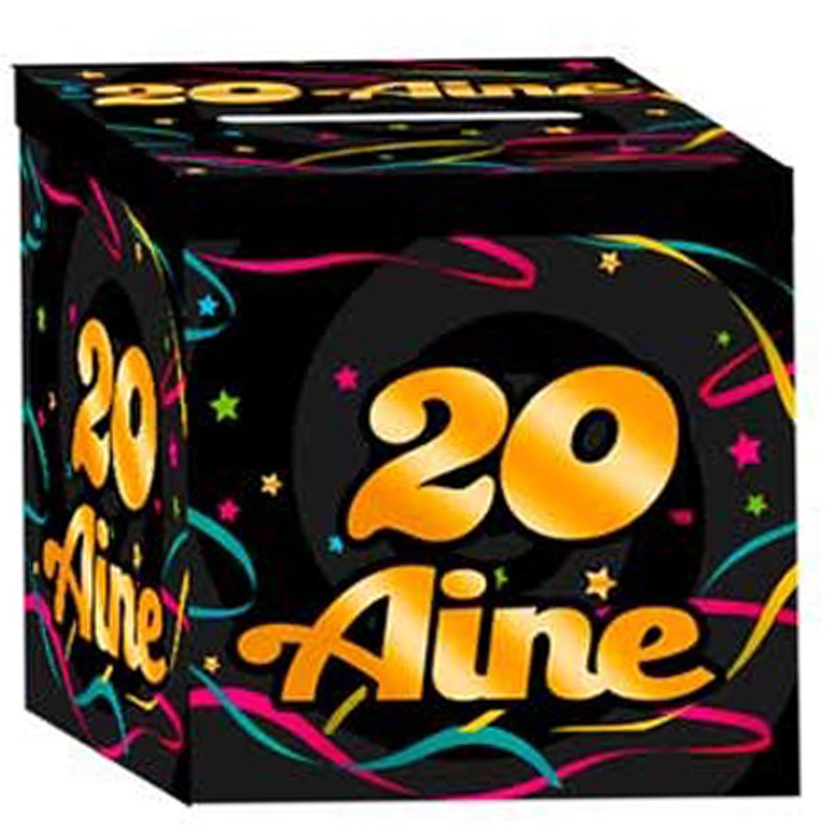 Urne anniversaire \'20 aine\' noir multicolore - 21x21x195 cm - [Q3648]