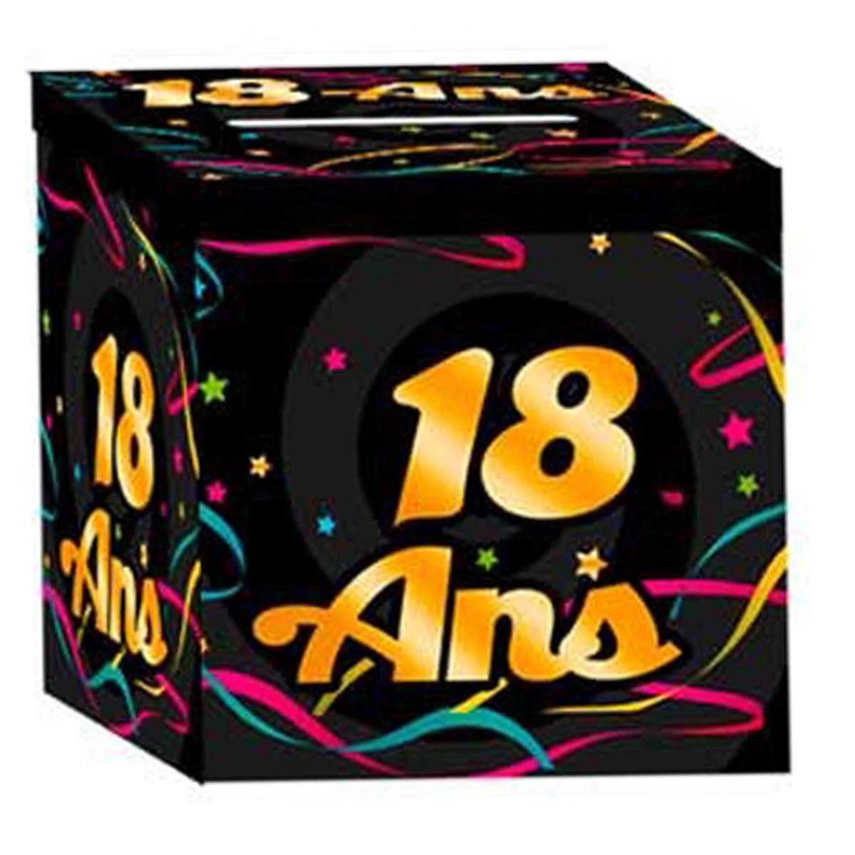 Urne anniversaire \'18 ans\' noir multicolore - 21x21x195 cm - [Q3650]