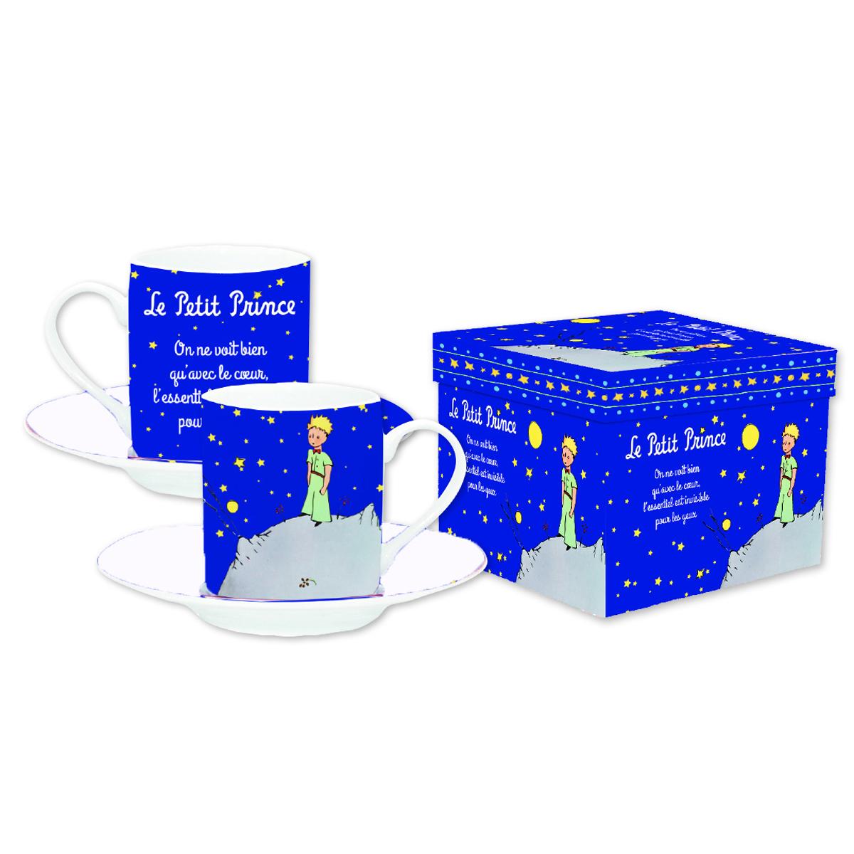 Coffret 2 tasses à café \'Le Petit Prince\' marine - tasse 6x5 cm - [Q8508]