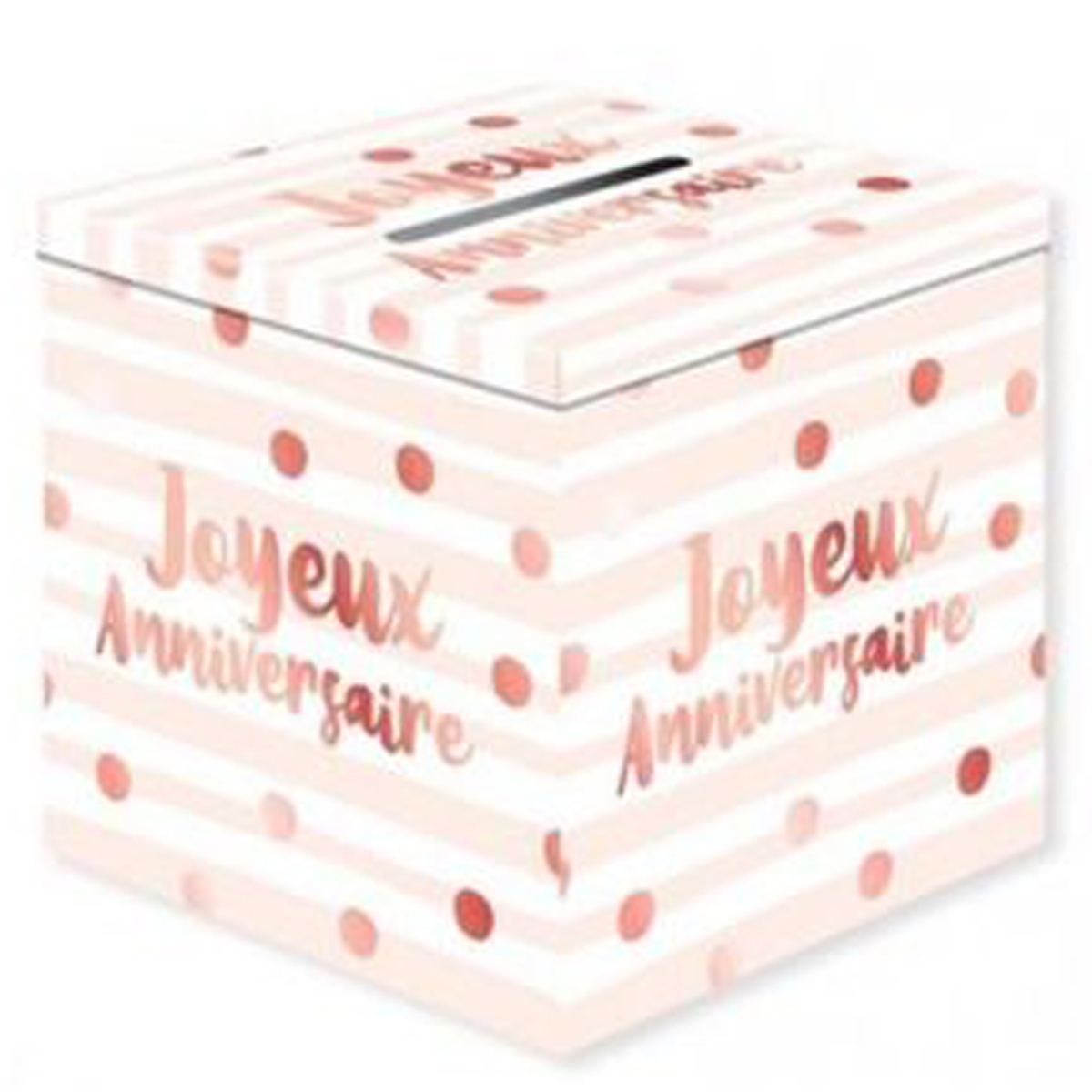 Urne \'Joyeux Anniversaire\' rose blanc (blush) - 20x20 cm - [Q9068]