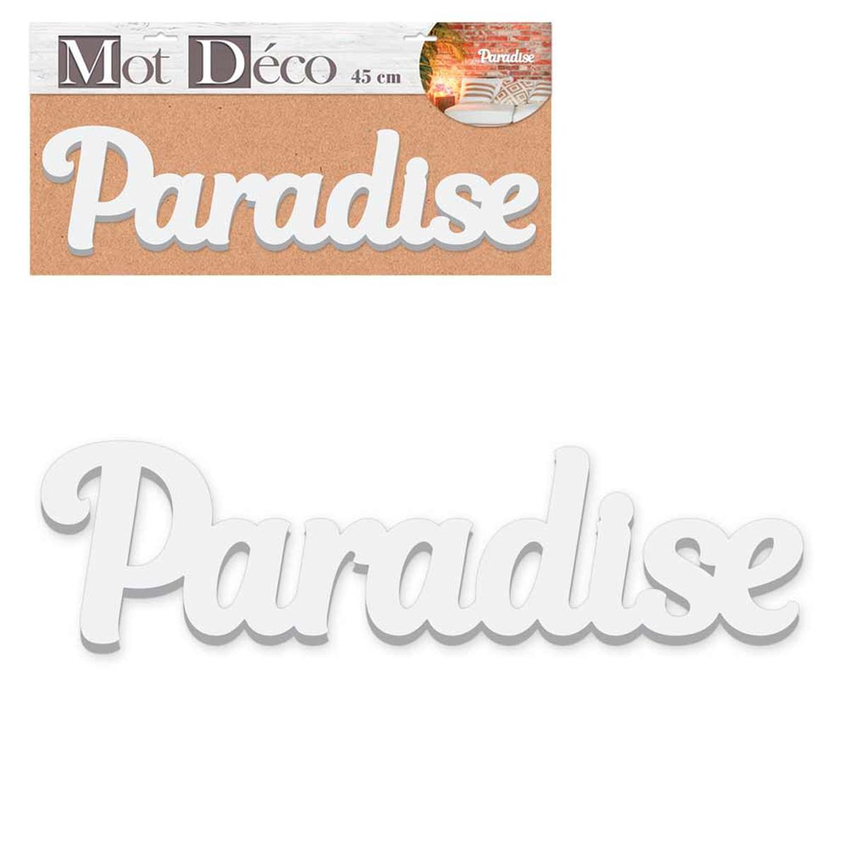 Mot Déco bois 3D \'Paradise\' blanc - 45x12x15 cm - [R2953]