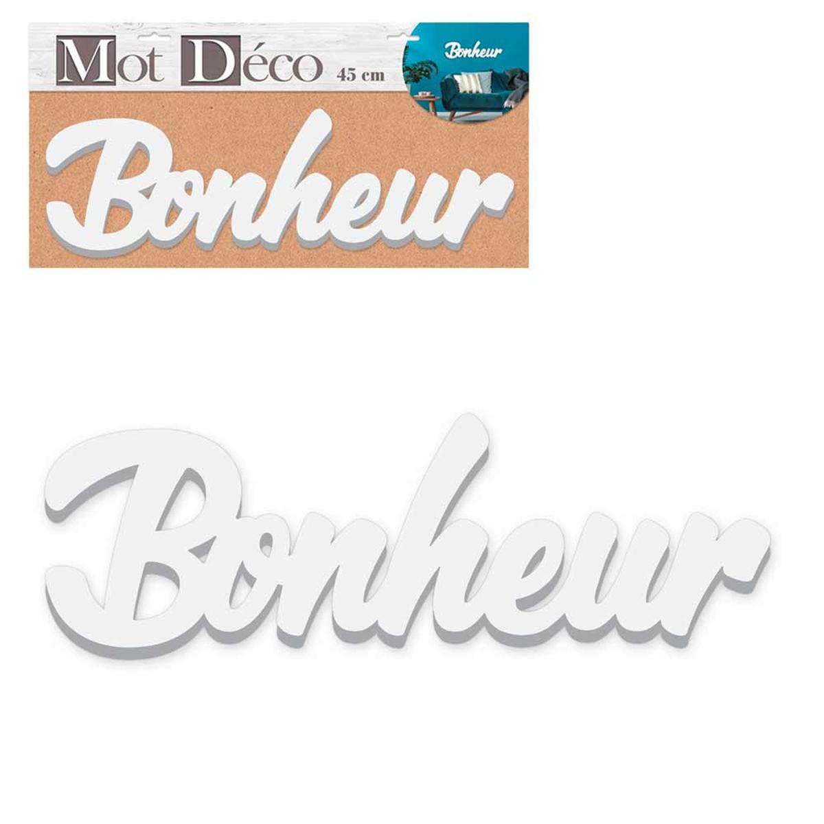 Mot Déco bois 3D \'Bonheur\' blanc - 45x135x15 cm - [R2954]