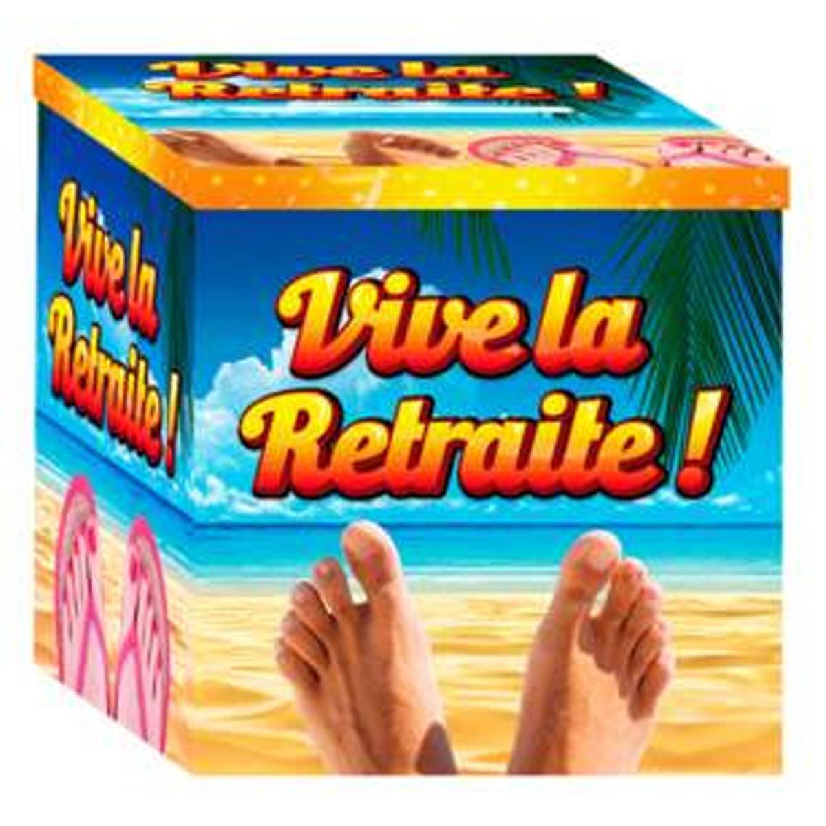 Urne cartonnée \'Vive la Retraite !\' multicolore (doigts de pieds en éventail) - 20x20 cm - [R2959]