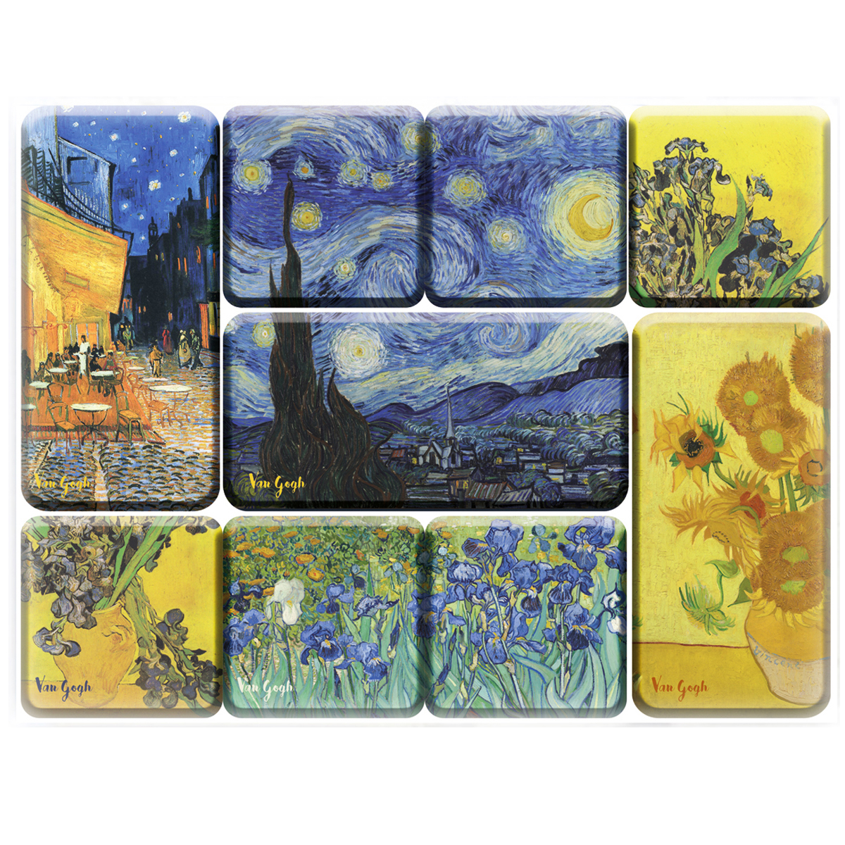 Coffret 9 magnets \'Vincent Van Gogh\' - coffret 9x65 cm - [Q7694]