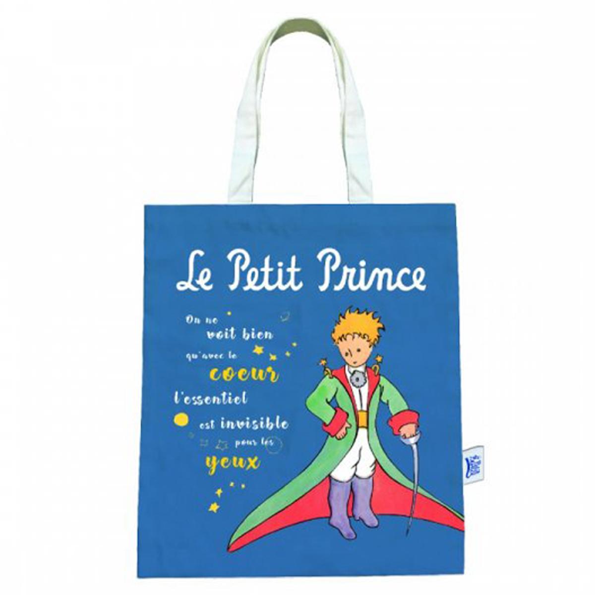 Sac coton / tote bag \'Le Petit Prince\' bleu (cape, épée) - 44x38 cm - [R2983]