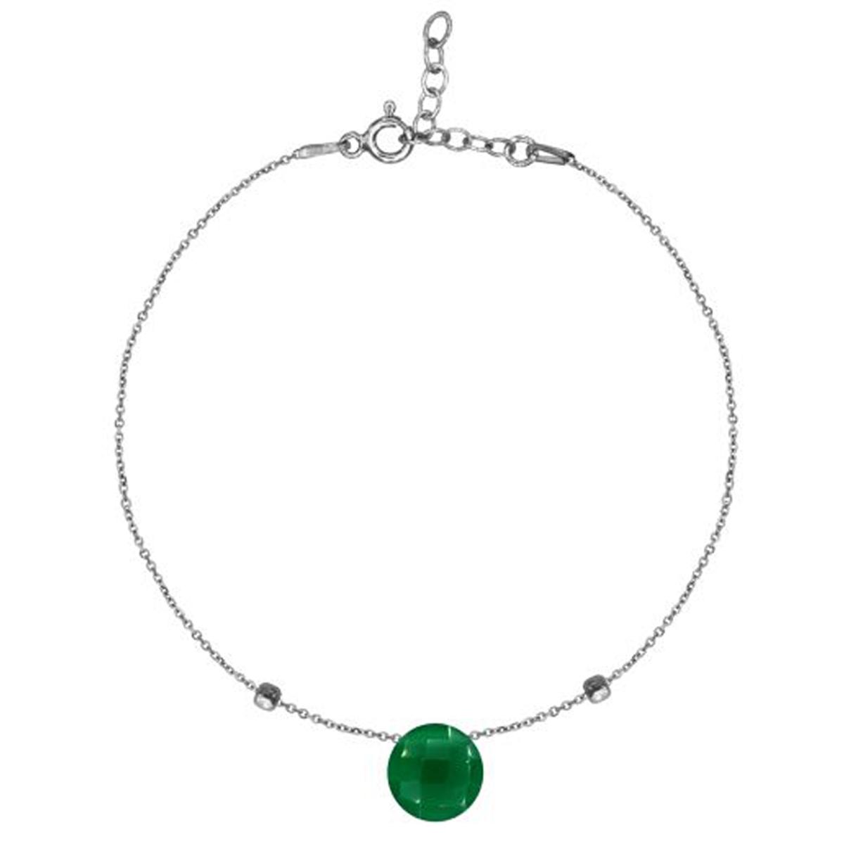 Bracelet Argent \'Meghan\' calcédoine verte argenté (rhodié) - 8 mm - [R3004]