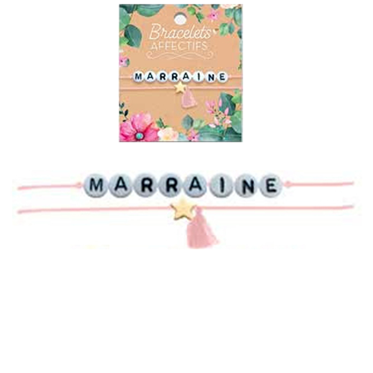 Bracelet tendresse \'Marraine\' - perles 6 mm - [R3047]
