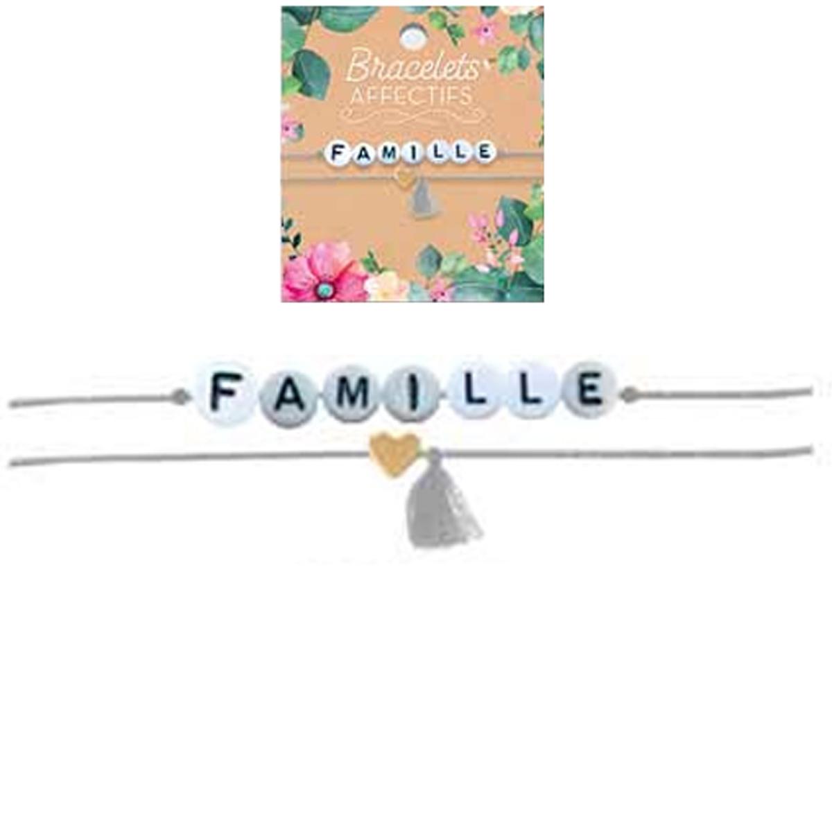 Bracelet tendresse \'Famille\' - perles 6 mm - [R3052]