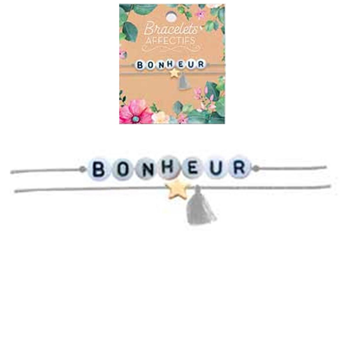 Bracelet tendresse \'Bonheur\' - perles 6 mm - [R3053]