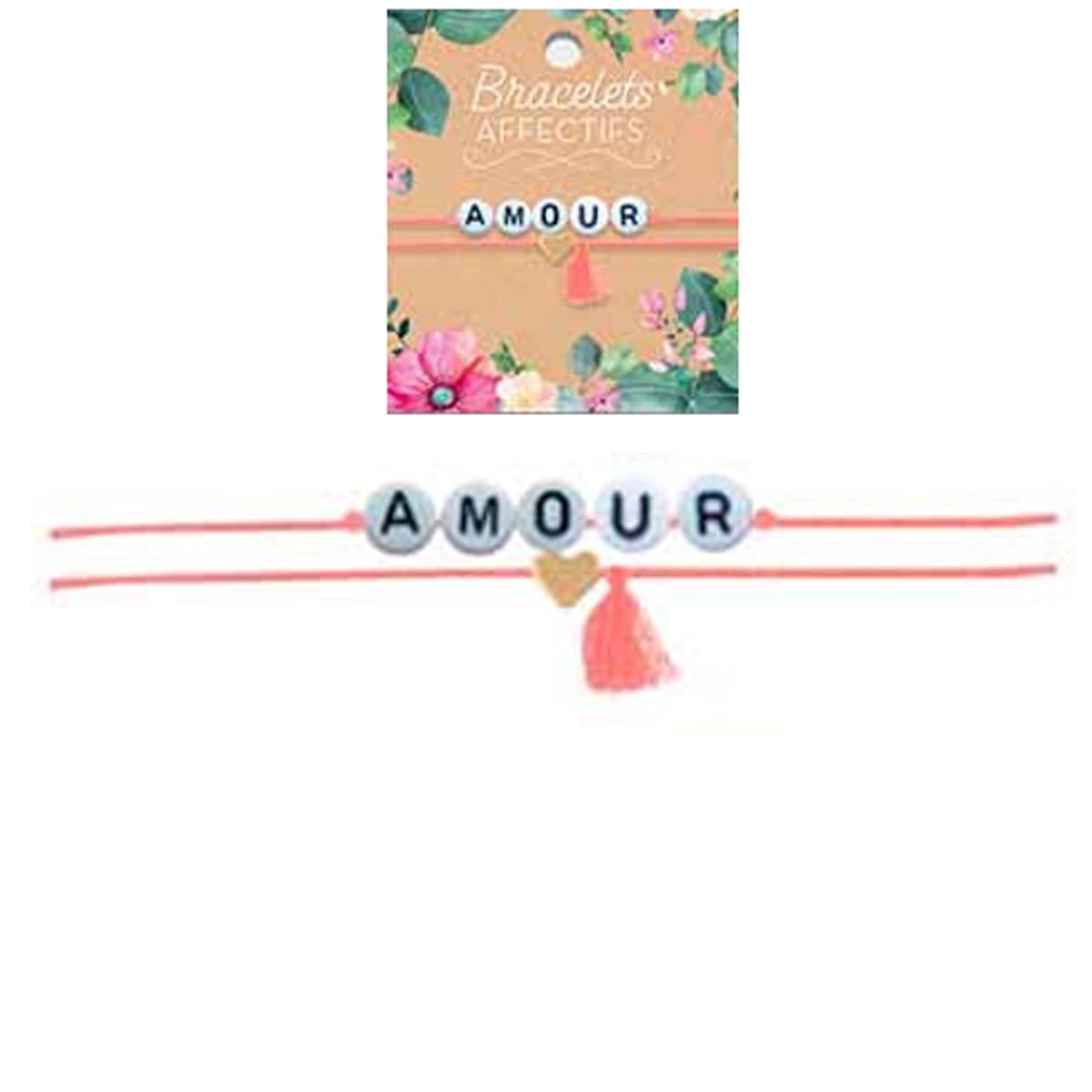 Bracelet tendresse \'Amour\' - perles 6 mm - [R3054]