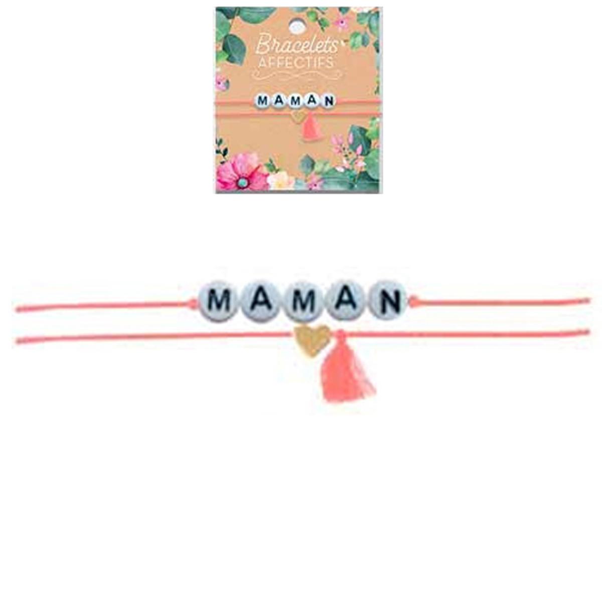 Bracelet tendresse \'Maman\' - perles 6 mm - [R3056]