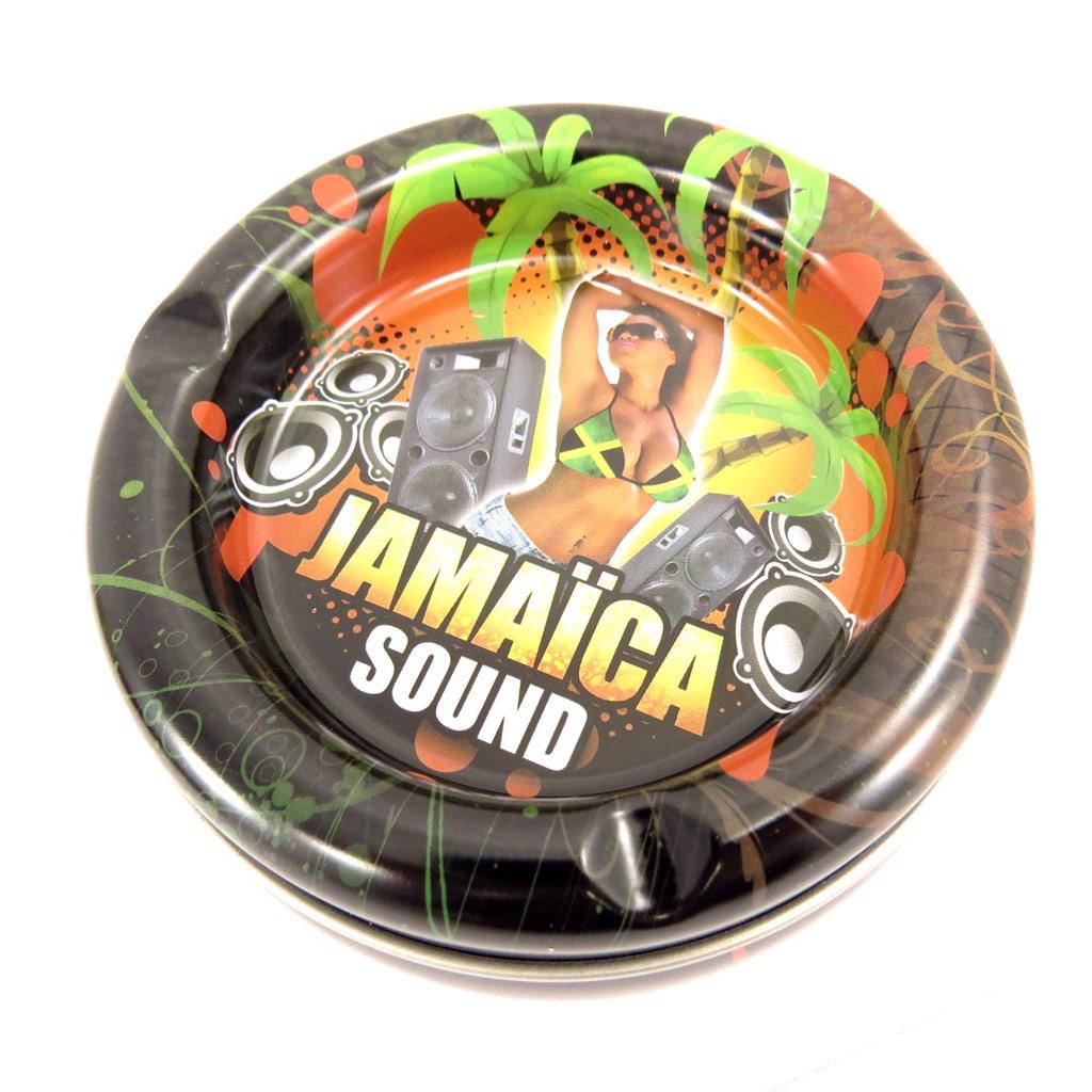 Cendrier boite à tabac métal \'Jamaica\' marron - 10x5 cm - [R3069]