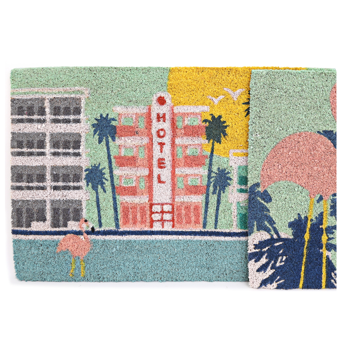 Paillasson paille \'South Beach\' multicolore (Flamant rose- hotel) - 60x40 cm - [A0015]