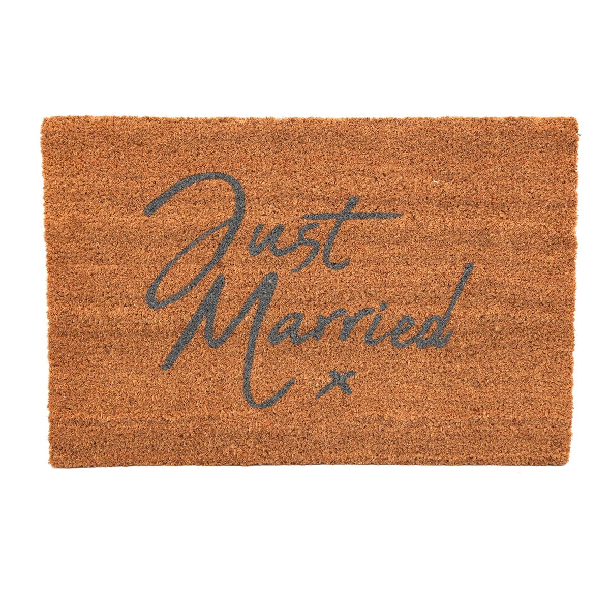 Paillasson paille \'Just Married\' marron - 60x40 cm - [A0017]