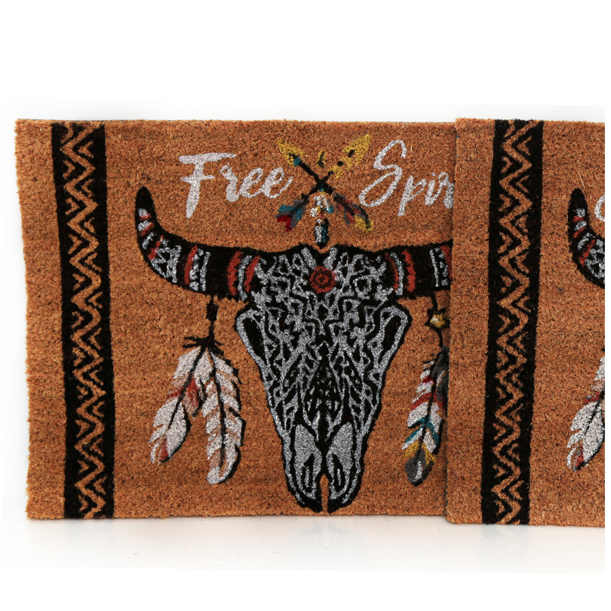 Paillasson paille \'Boho\' (Crâne de bison, Free spirit) - 60x40 cm - [A0019]