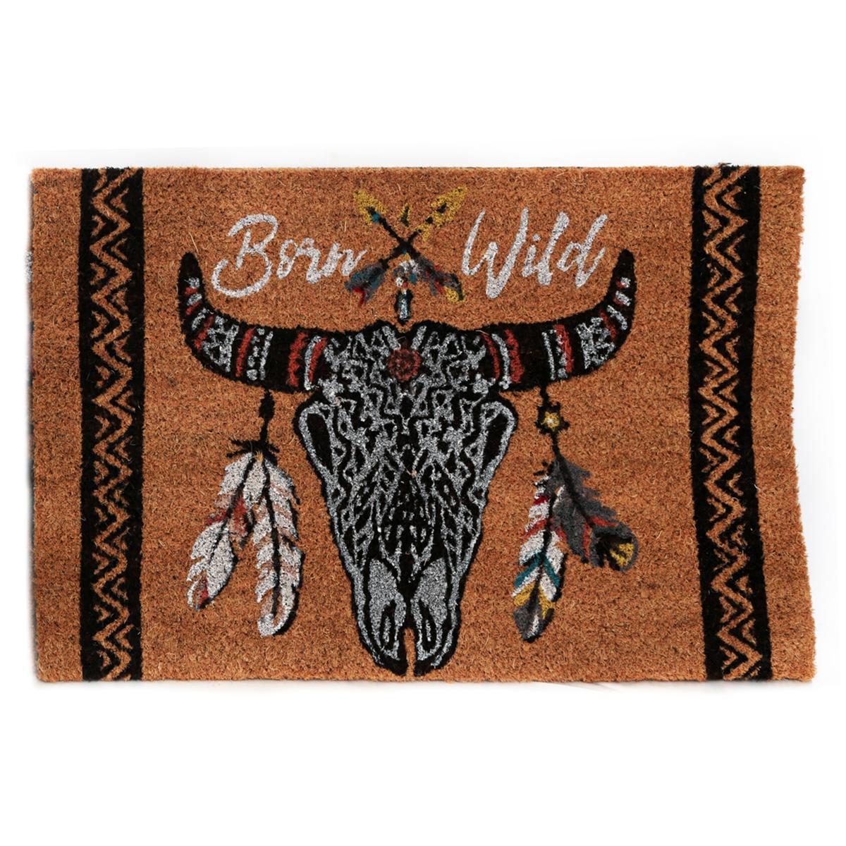 Paillasson paille \'Boho\' (Crâne de bison, Born wild) - 60x40 cm - [A0020]