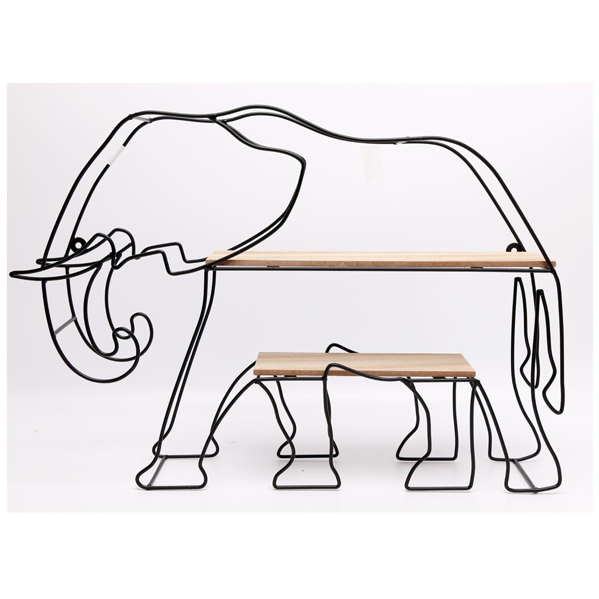 Etagère désign métal bois \'Elephant\' union jack - 54x38x10 cm - [A0022]