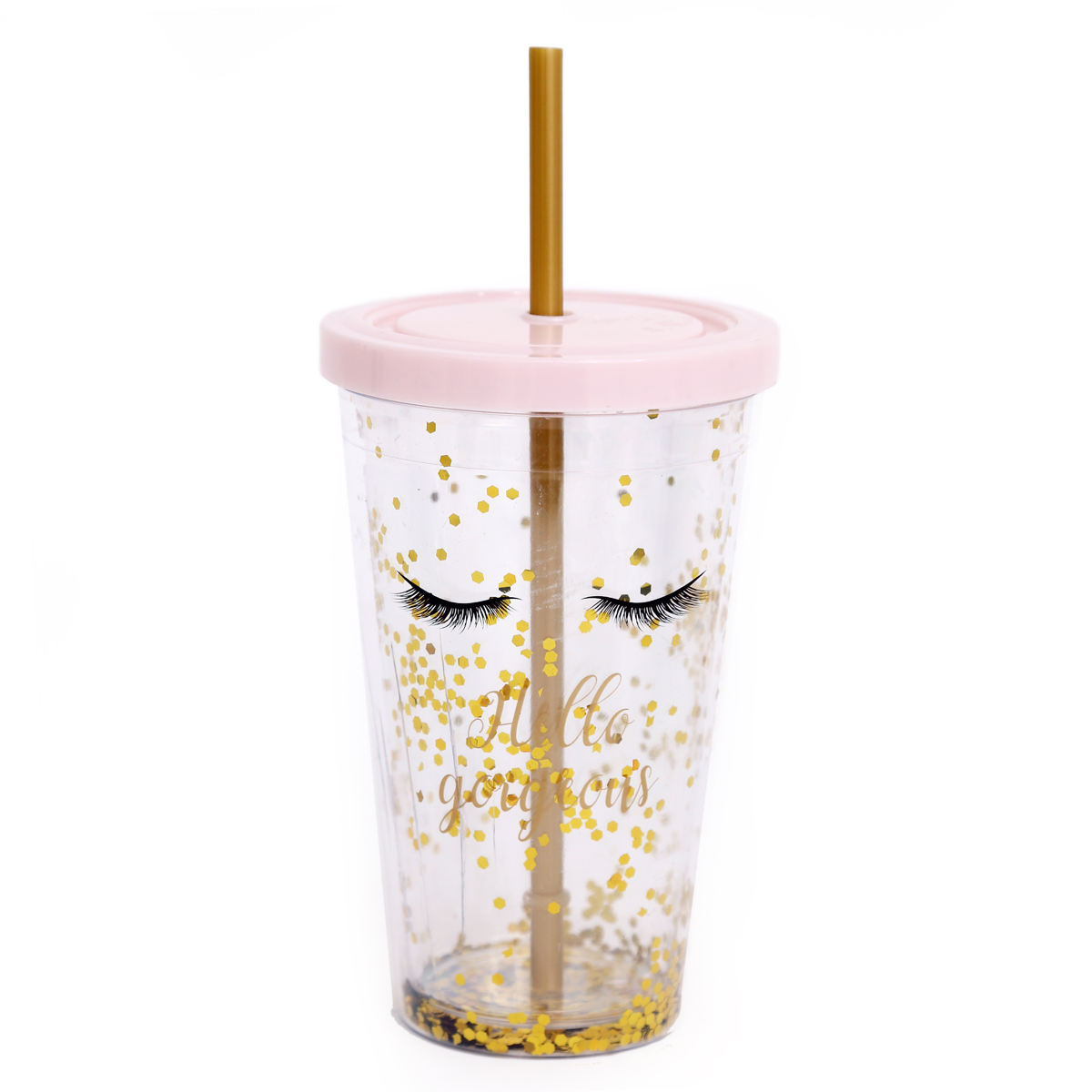 Gobelet paille plastique \'Diva - Yeux Endormis\' rose paillettes - 16x10 cm - [A0027]