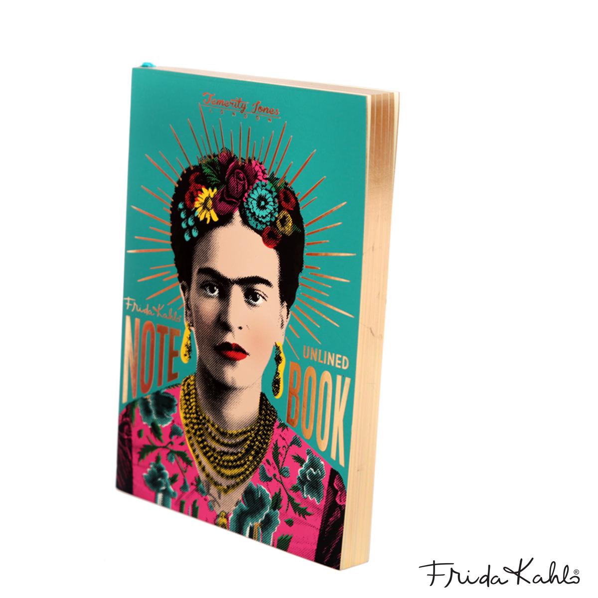 Bloc note A6 \'Frida Kahlo\' turquoise doré - 14x10 cm - [A0028]