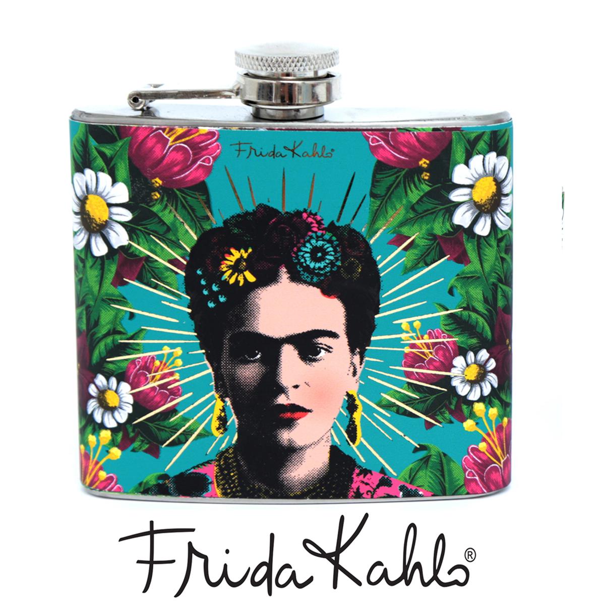 Flasque à alcool \'Frida Kahlo\' turquoise - 11x9 cm - [A0030]