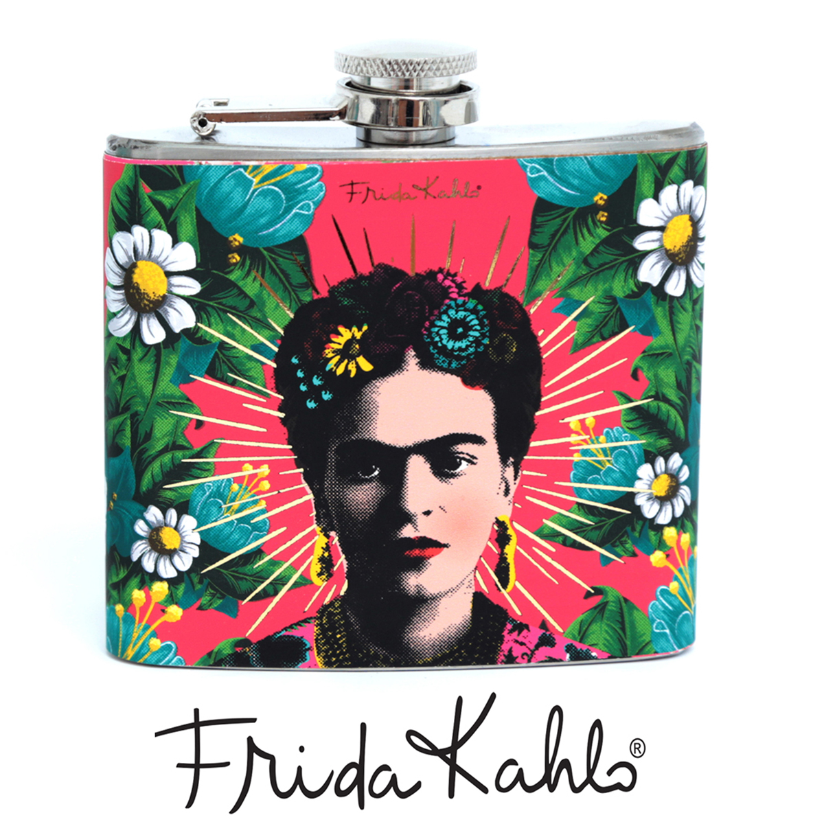 Flasque à alcool \'Frida Kahlo\' rose - 11x9 cm - [A0031]