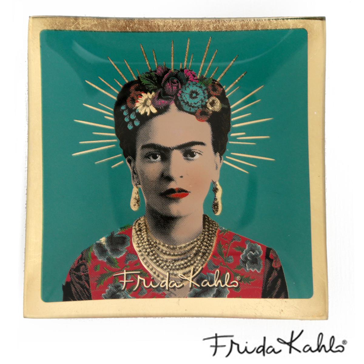 Coupelle vide poches verre \'Frida Kahlo\' turquoise - 10x10 cm - [A0033]