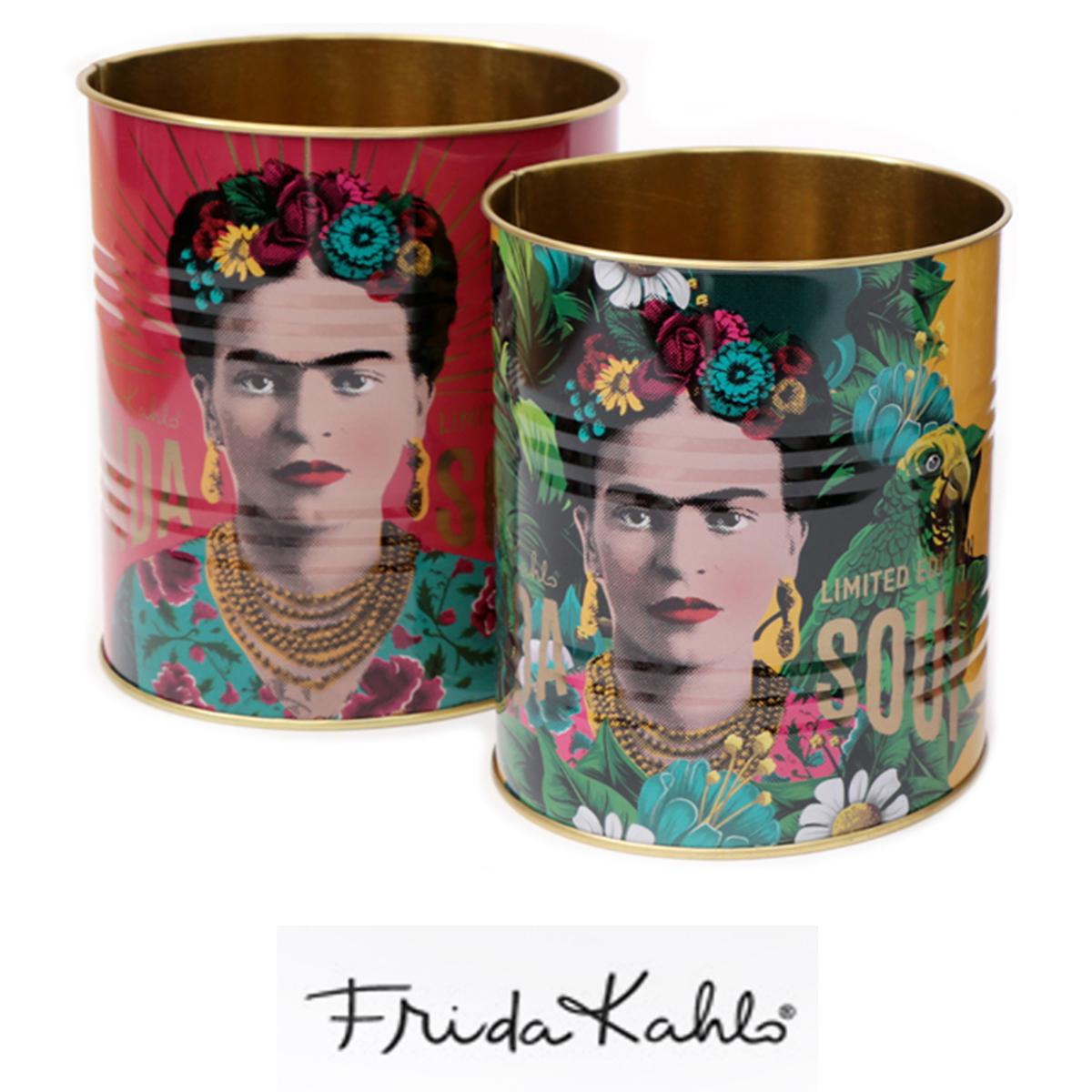 Lot de 2 pots à couverts métal \'Frida Kahlo\' rose jaune - 13x11 cm et 12x10 cm - [A0037]