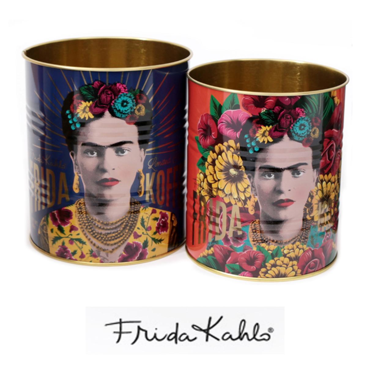 Lot de 2 pots à couverts métal \'Frida Kahlo\' marine rose - 13x11 cm et 12x10 cm - [A0038]