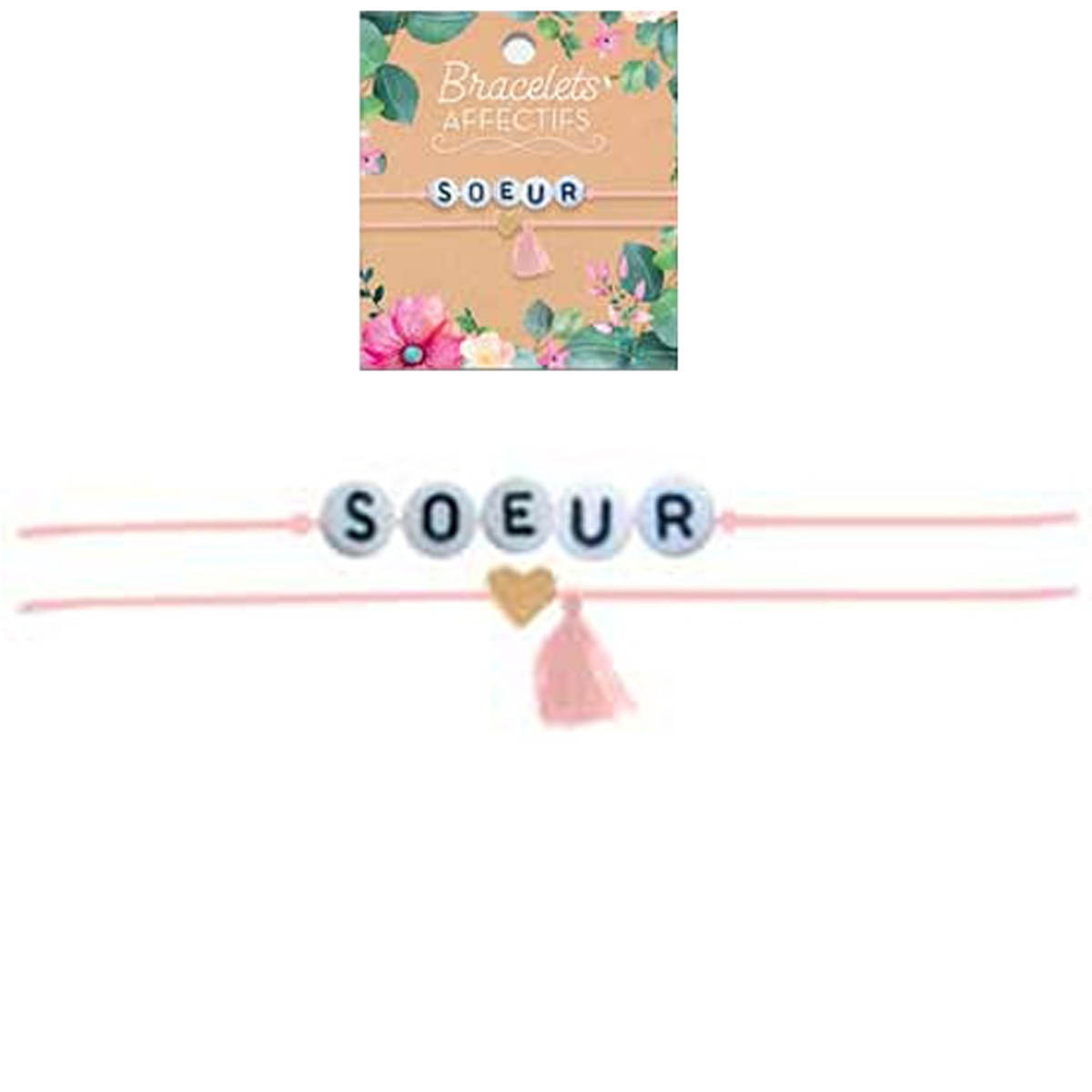 Bracelet tendresse \'Soeur\' - perles 6 mm - [R3057]