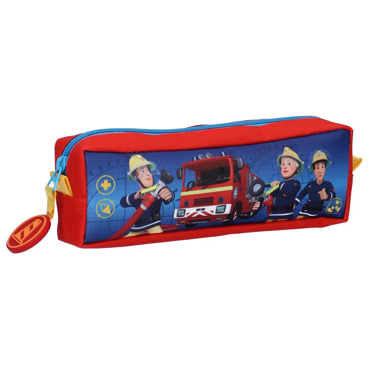 Trousse rectangle \'Sam le pompier\' bleu rouge - 22x7x5 cm - [A0095]