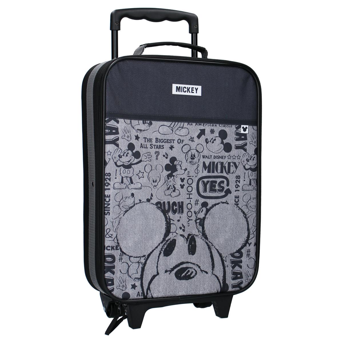 Valise trolley \'Mickey\' noir gris - 40x30x14 cm - [A0131]