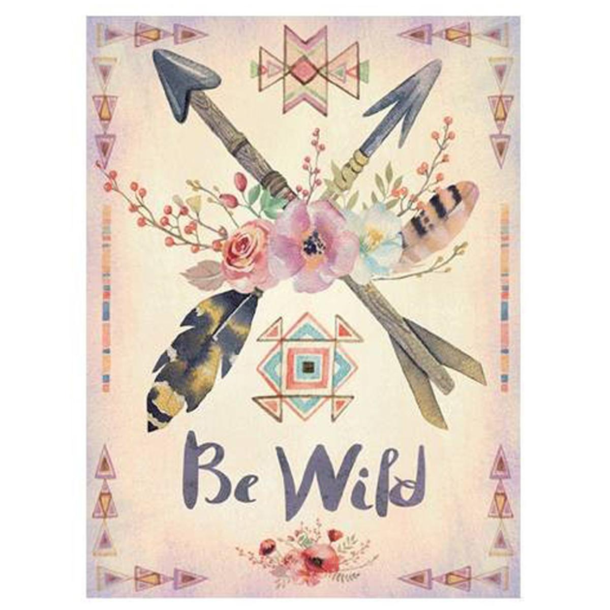 Toile \'Boho\' beige multicolore (Be Wild) - 40x30 cm - [P1812]