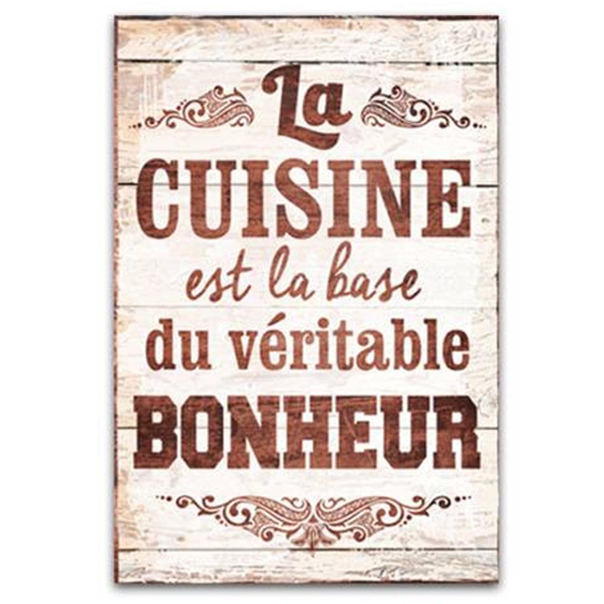 Cadre bois \'Messages\' marron beige (La cuisine est la base du véritable bonheur) - 34x23 cm - [Q7147]