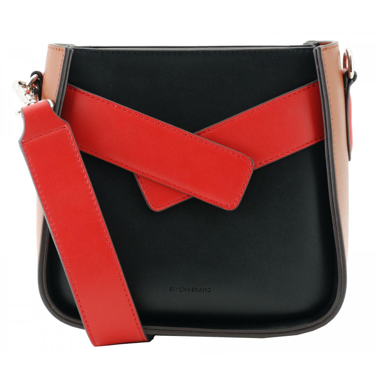 Sac créateur \'Chabrand\' noir rouge marron - 20x19x10 cm - [A0136]