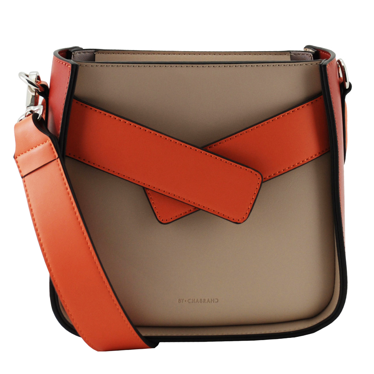Sac créateur \'Chabrand\' taupe marron orange - 20x19x10 cm - [A0138]